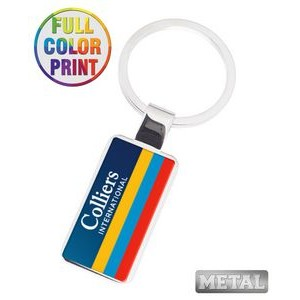 Rectangle Shaped Metal Keychain - Full Color Dome